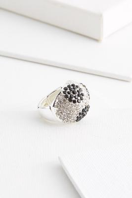 black and silver bling ring
