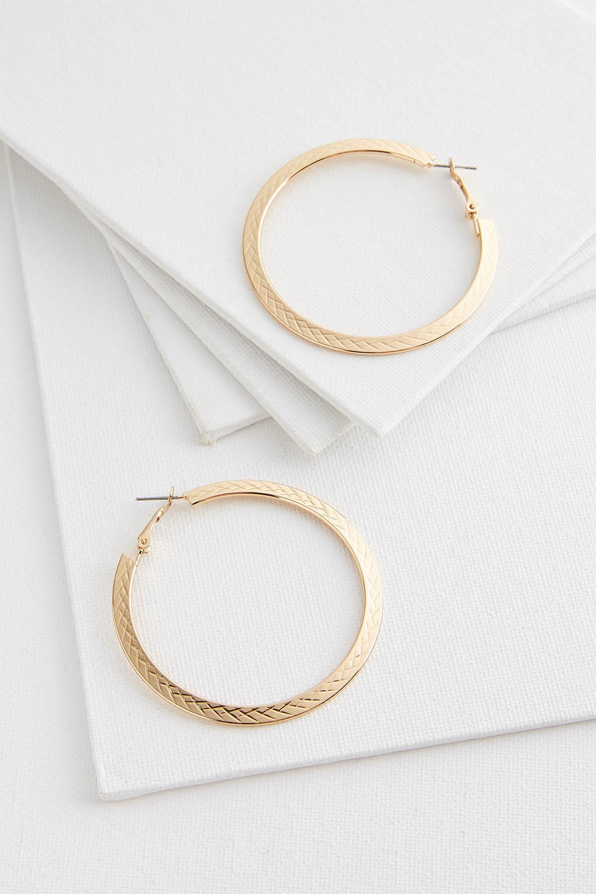 Diamond Textured Hoop Earrings