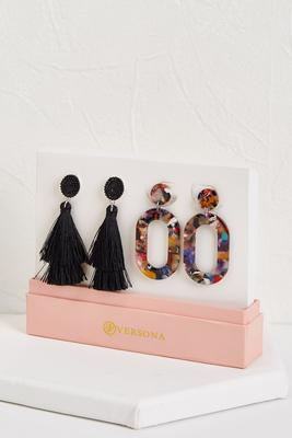 tassel and rainbow lucite earring set