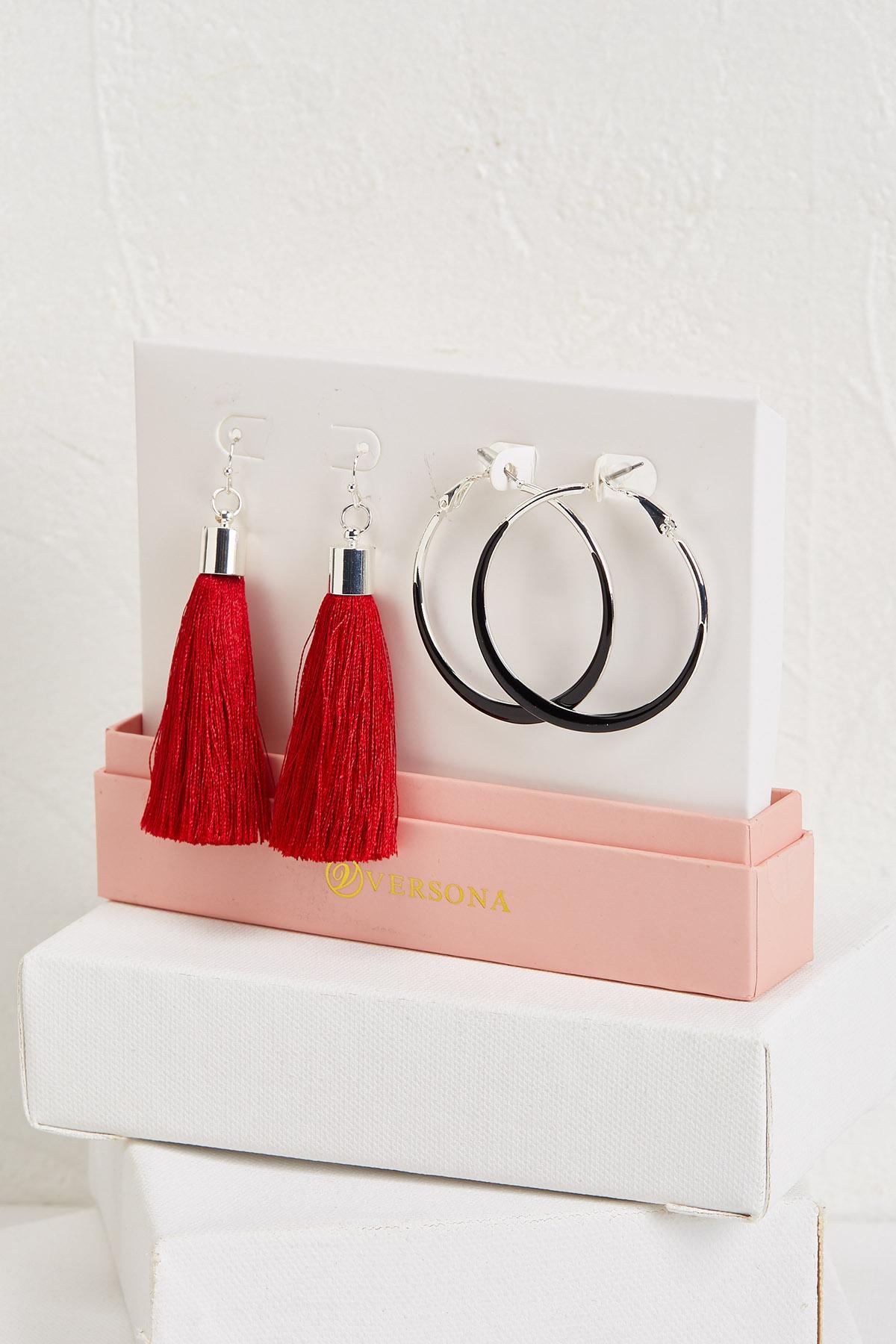 Tassel And Enamel Hoop Earring Set