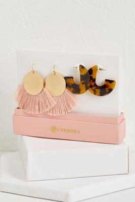 blush fringe and hoop earring set