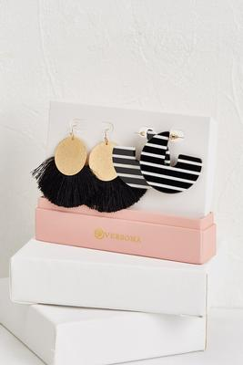 fringe and striped disc earring set