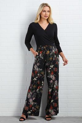 surplice floral jumpsuit