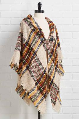 london plaid toggle poncho