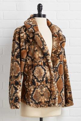 faux snake print jacket