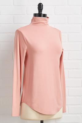 mock neck solid knit top