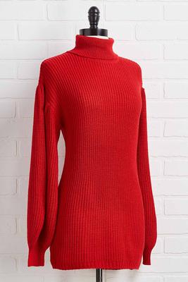cherry cozy turtleneck sweater