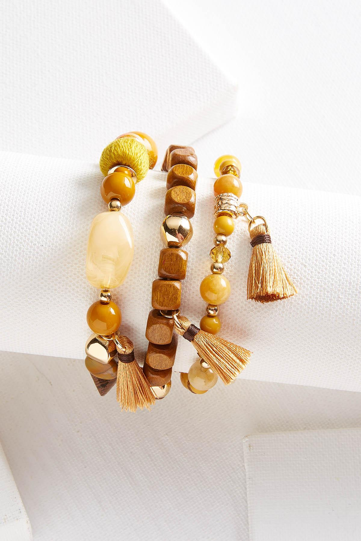 Yellow Wooden Bracelet Set