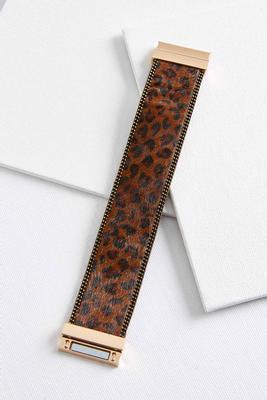 leopard faux fur bracelet