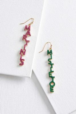 martinis and mistletoe earrings