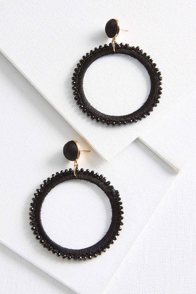Fabric Crystal Hoop Earrings