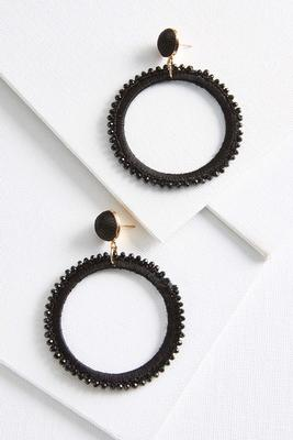 fabric crystal hoop earrings