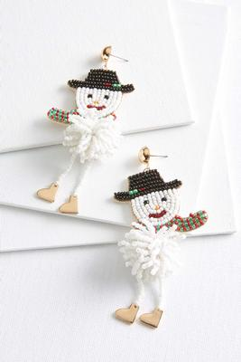 snowman beaded earrings