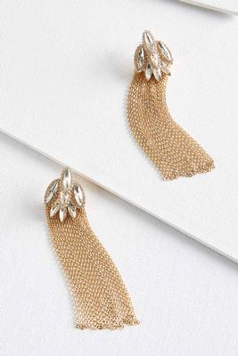 marquise stone fringe earrings