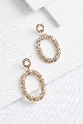 dangle pave oval earrings