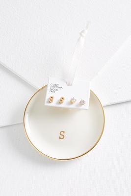 s initial earring set