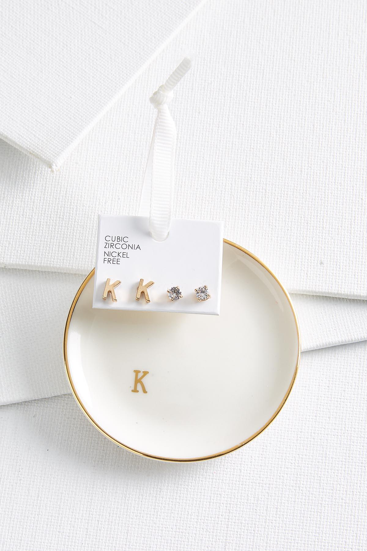 K Initial Earring Set