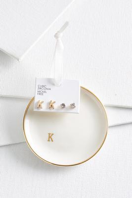 k initial earring set