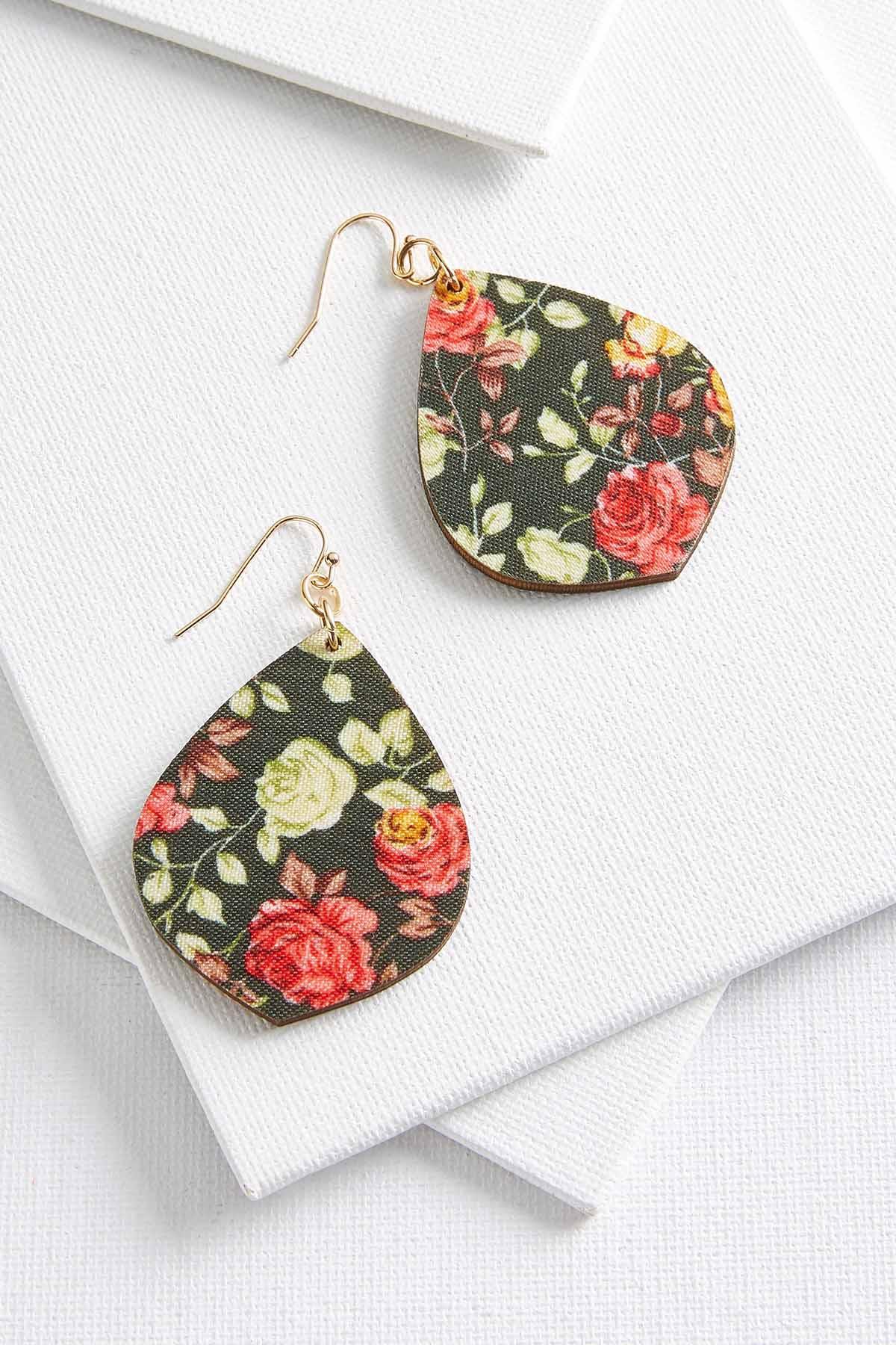 Wooden Floral Print Earrings