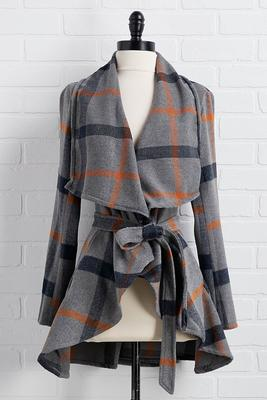plaid tie front coat