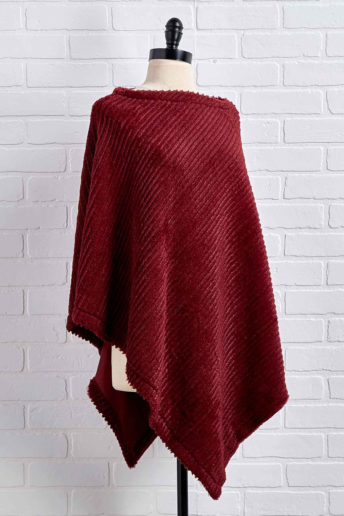 Just Faux You Ribbed Poncho