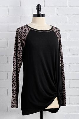 leopard sleeve hacci top
