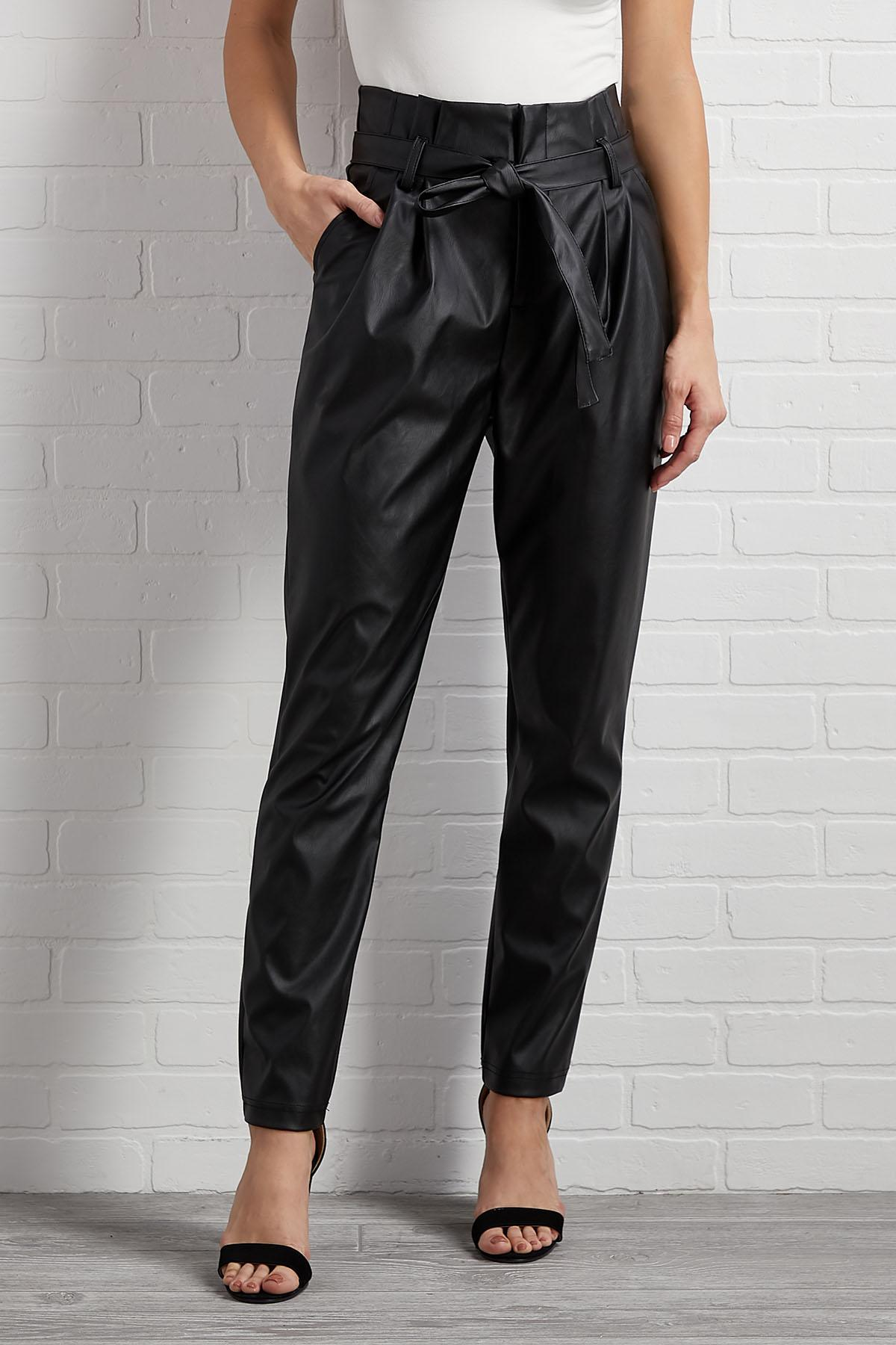 Ties And Shine Faux Leather Pants