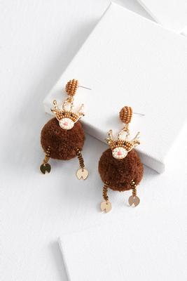 reindeer puff earrings