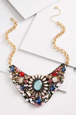 multi jeweled bib necklace