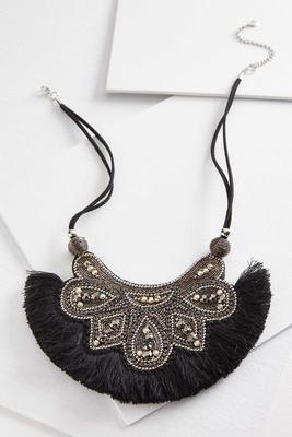 woven fringe bib necklace