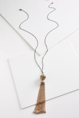 two-toned chain tassel necklace