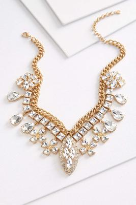 jewel glass bib necklace
