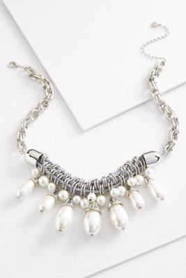 chunky pearl and cord necklace