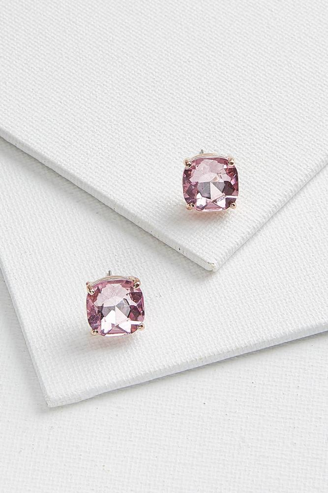 Square Glass Button Earrings