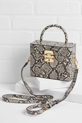 snakeskin box bag