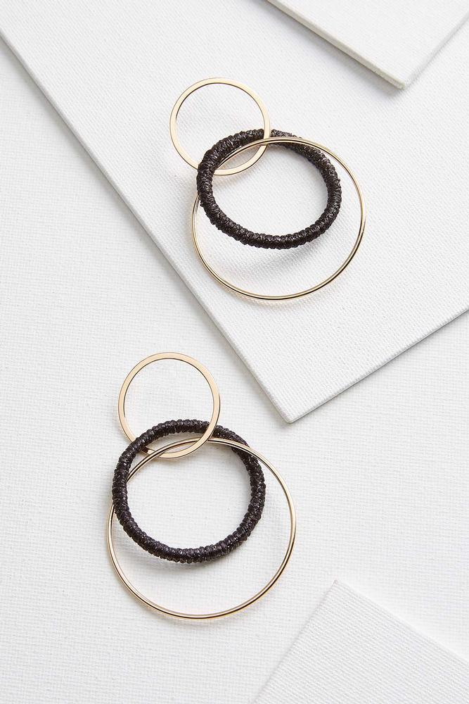 Metal And Fabric Hoop Earrings