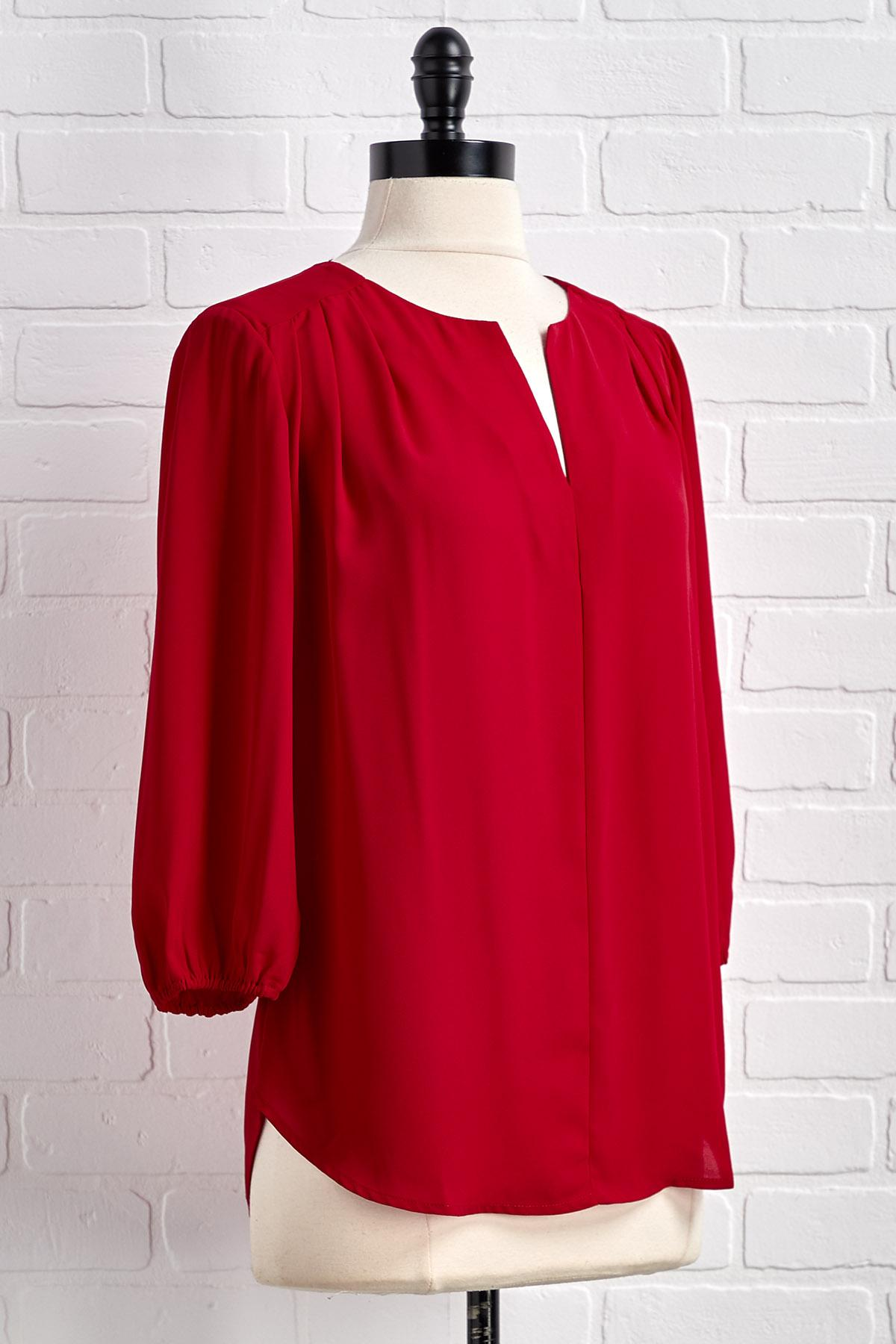 A Little Red Pleats Top