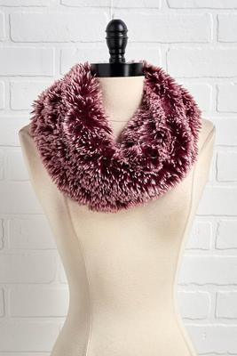 wine shaggy cowl scarf