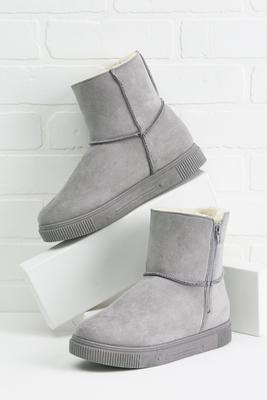 fur lined zip boots
