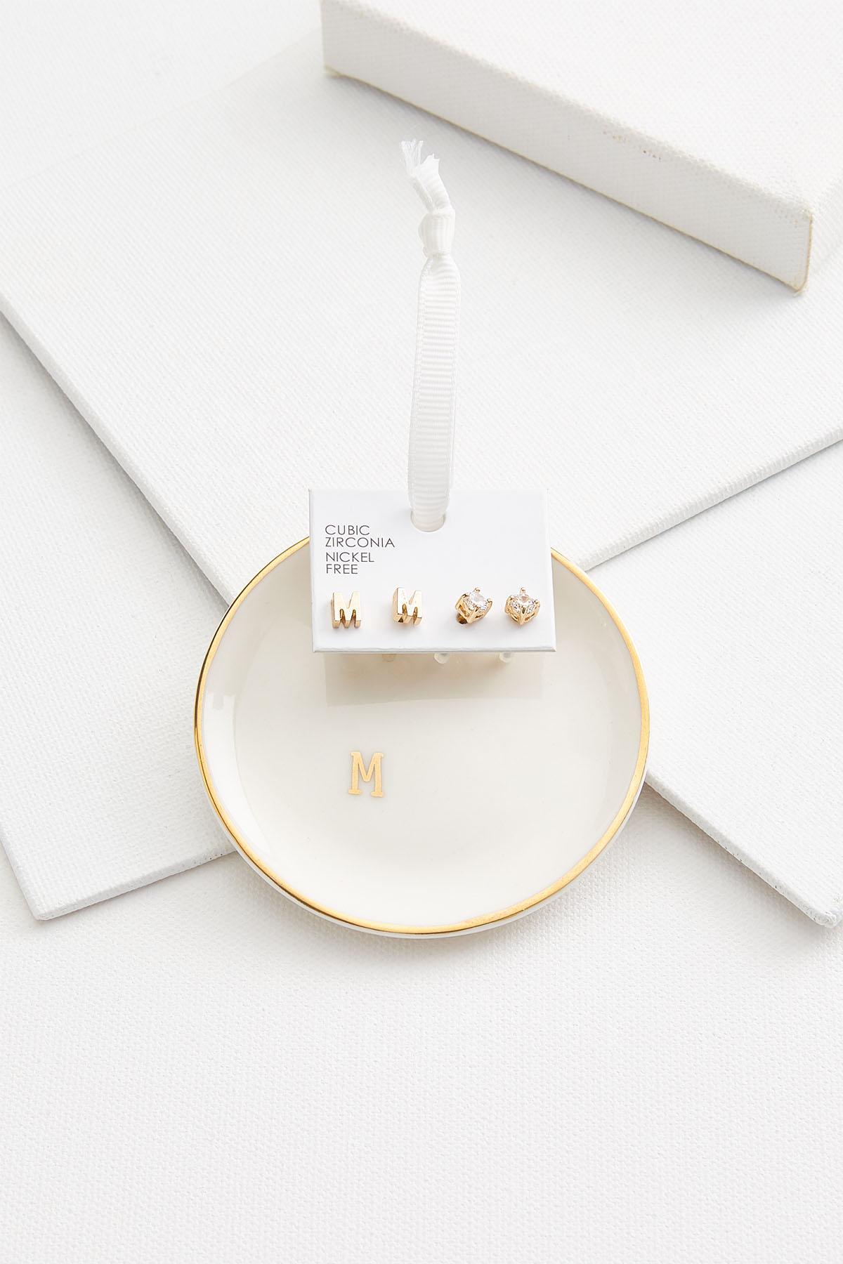 M Initial Earring Set