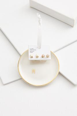 m initial earring set