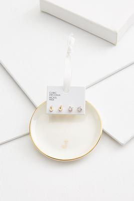 j initial earring set
