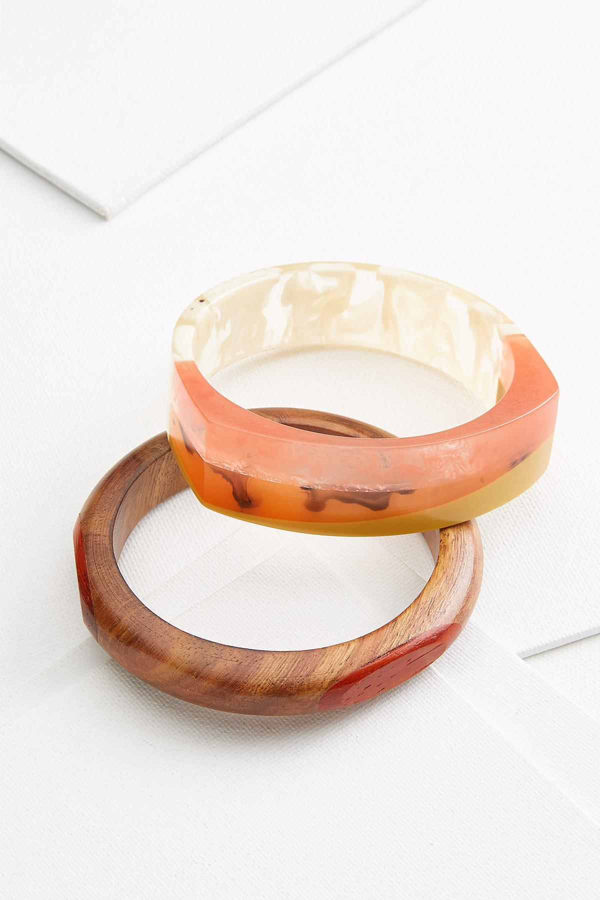 Wood And Resin Bangle Set