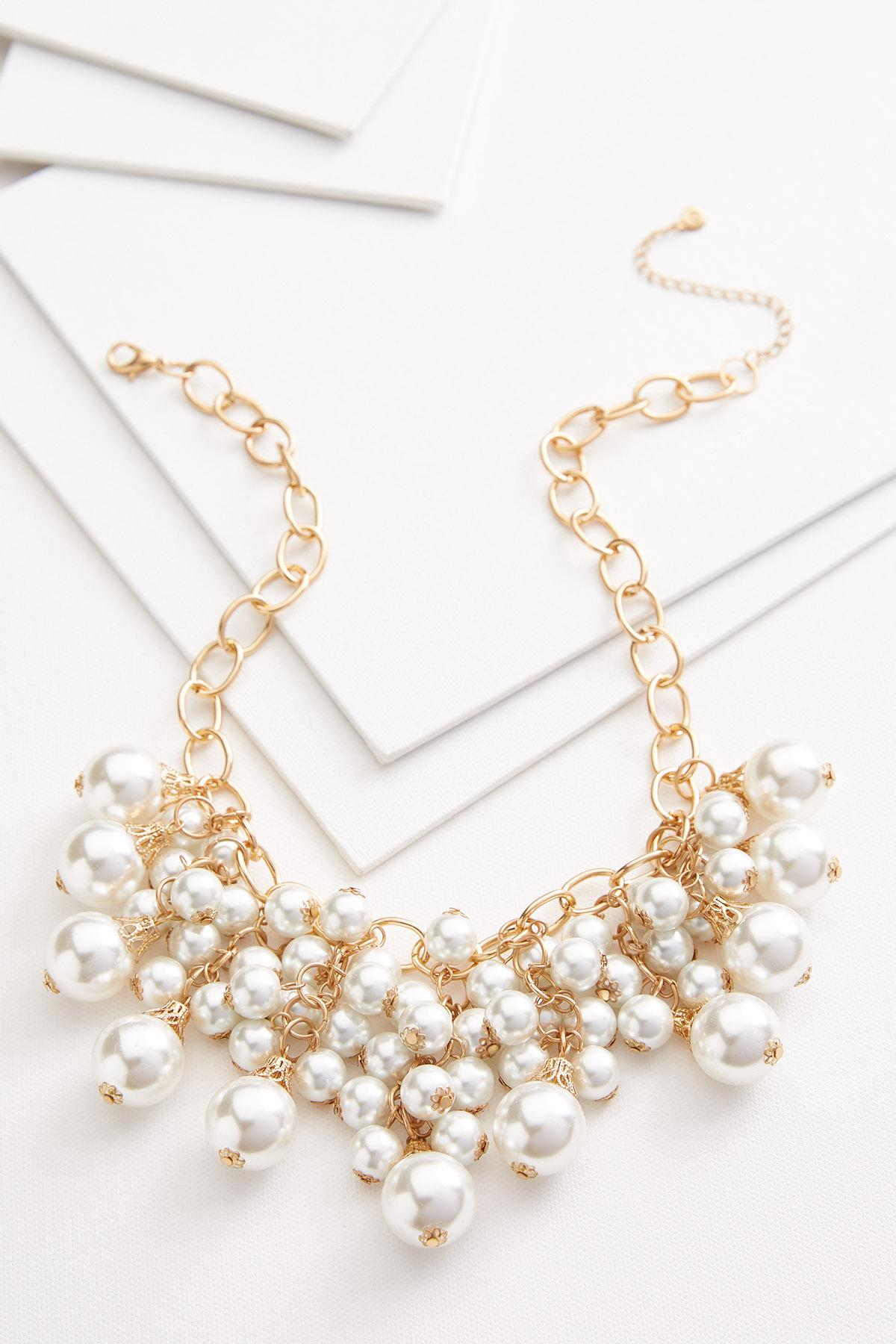 Pearl And Chain Bib Necklace