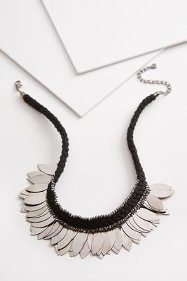 metal fringe bib necklace