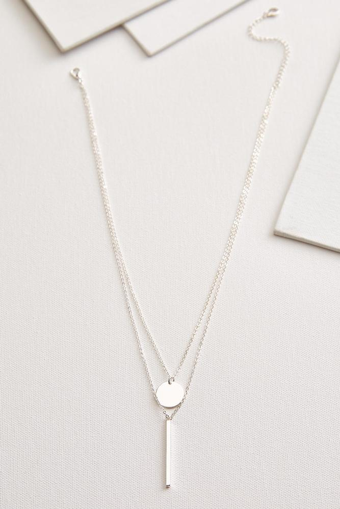 Disc And Bar Pendant Necklace