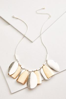metal petal bib necklace
