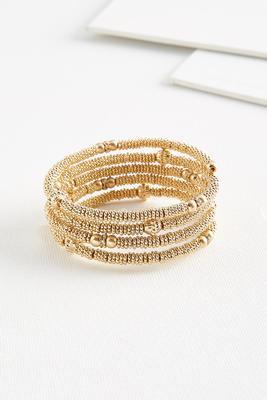 metal beaded coil bracelet