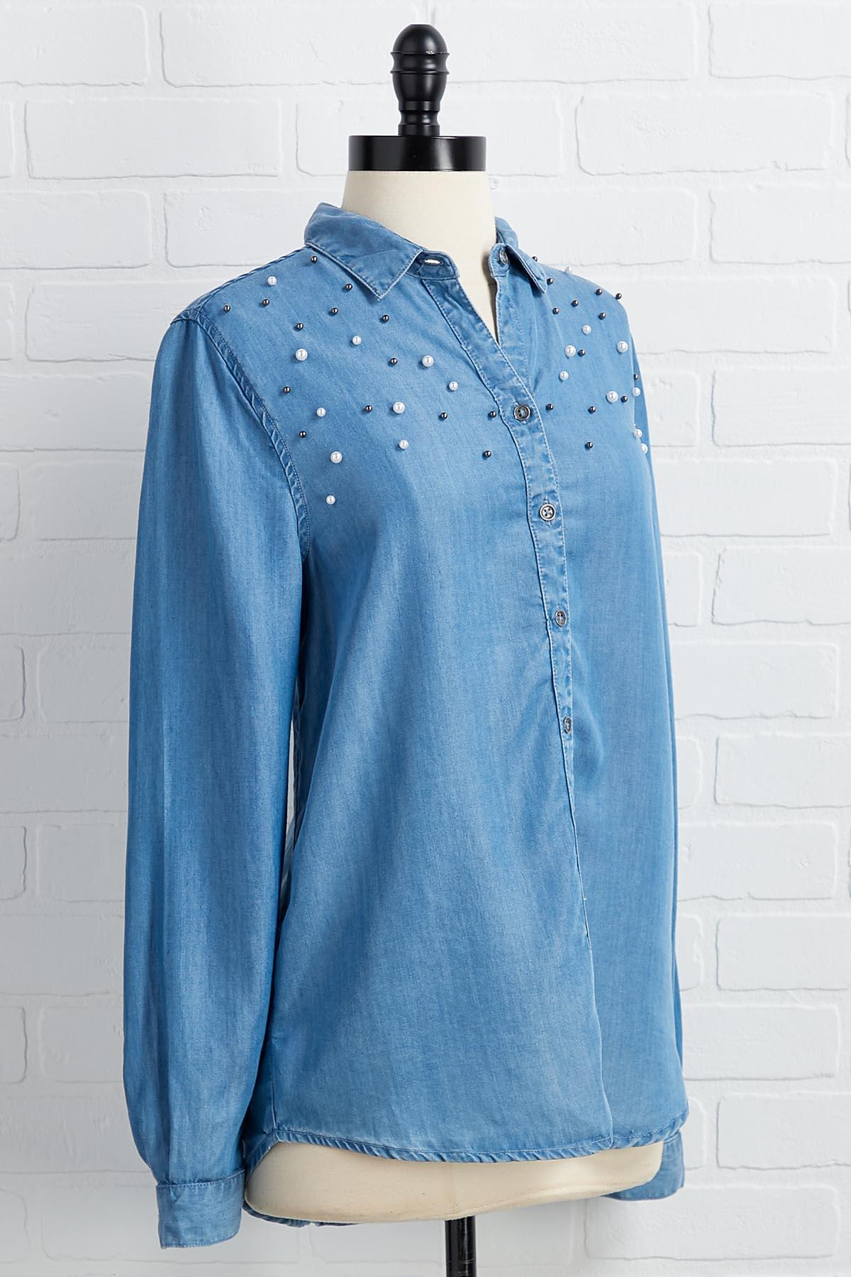 Pearl Power Chambray Top