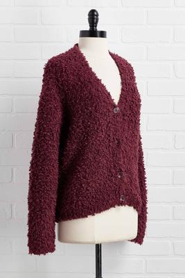 ready fur wine cardigan
